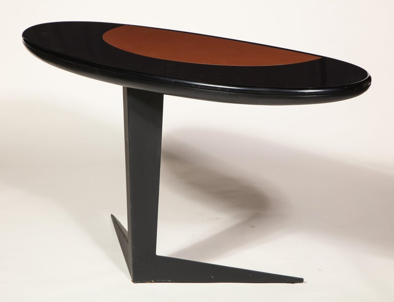 Black Lacquer and Steel Oval Desk Console Entry Table, France, circa 1960s In Good Condition For Sale In New York, NY