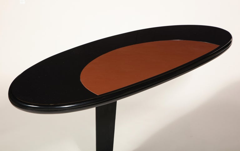 Black Lacquer and Steel Oval Desk Console Entry Table, France, circa 1960s For Sale 2