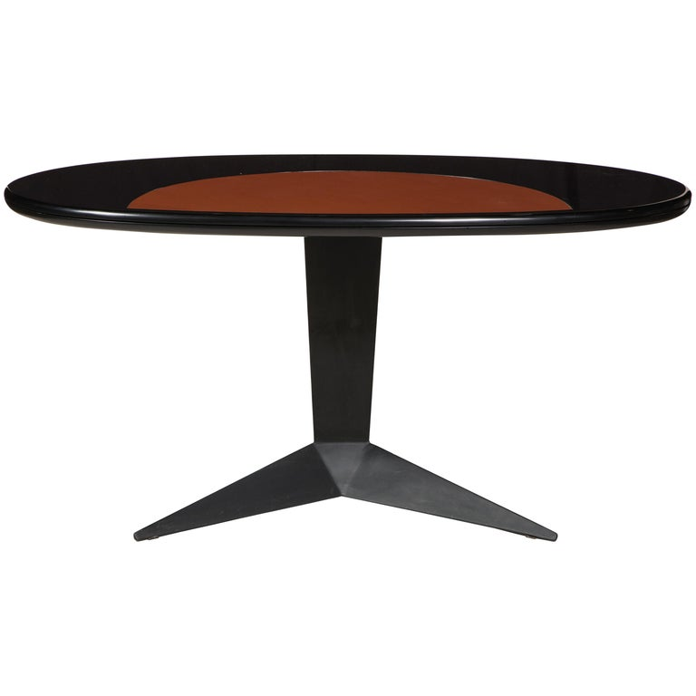 Black Lacquer and Steel Oval Desk Console Entry Table, France, circa 1960s For Sale