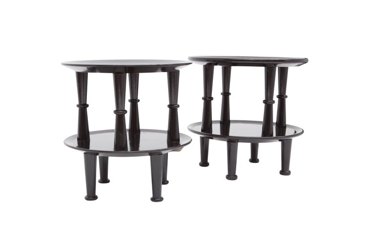 Art Deco side tables, black lacquered frame, France, 1940s  The side tables are not a identical which adds even more character and uniqueness.