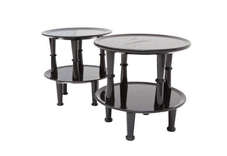 Italian Black Lacquer Art Deco Side Tables For Sale