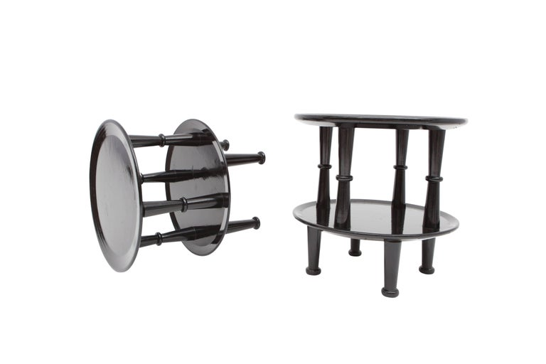 Black Lacquer Art Deco Side Tables For Sale 2