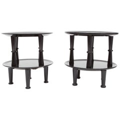 Black Lacquer Art Deco Side Tables