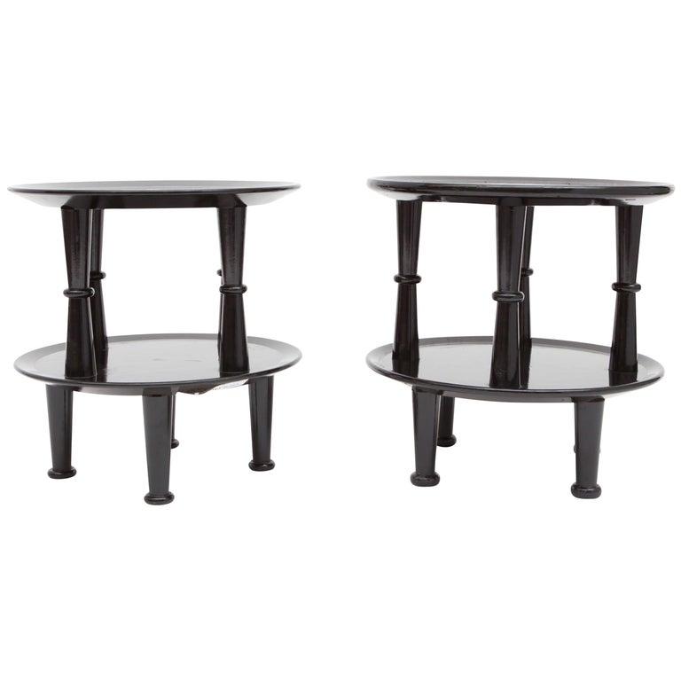 Black Lacquer Art Deco Side Tables For Sale