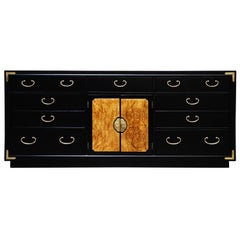Black Lacquer, Brass and Burled Wood Campaign Dresser by Thomasville, Signed