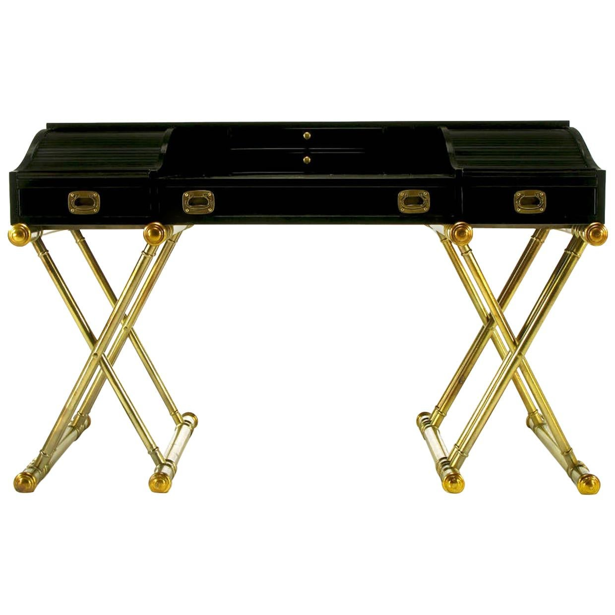 Black Lacquer Brass Faux Bamboo Base Campaign Secretary Roll Top Style Desk