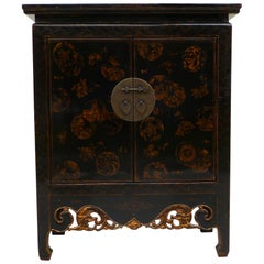 Black Lacquer Cabinet with Gilt Motif