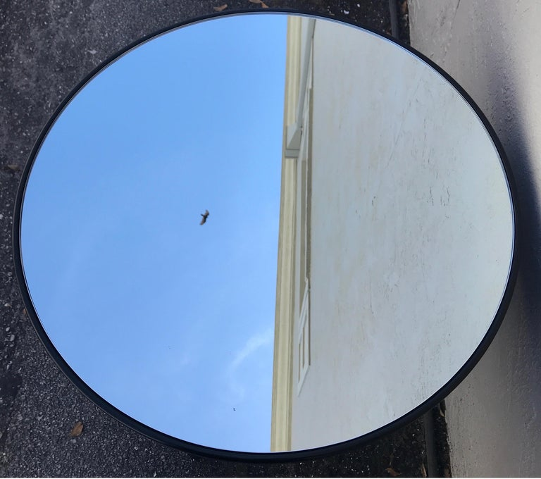 Black Lacquer Charles X Style Round Mirrored Top Side Table by Ralph Lauren In Good Condition For Sale In West Palm Beach, FL
