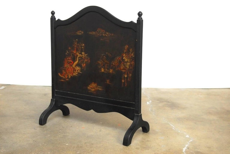 European Black Lacquer Chinoiserie Decorated Fireplace Screen For Sale