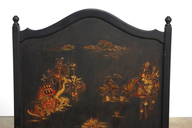 Lacquered Black Lacquer Chinoiserie Decorated Fireplace Screen For Sale