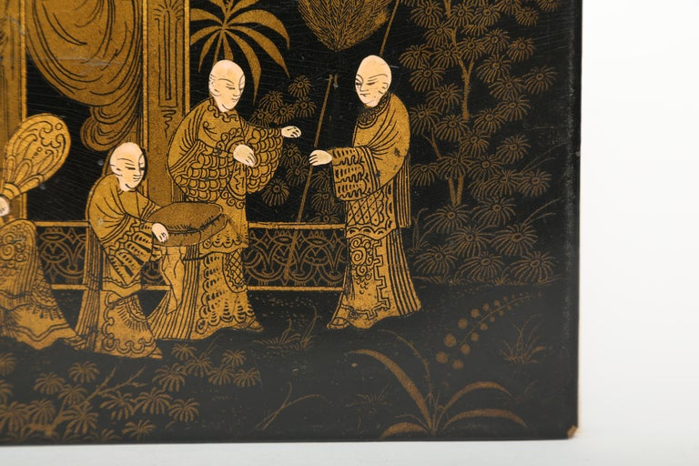Gilt  Black Lacquer Antique Folio/Blotter in a Chinoiserie Style For Sale