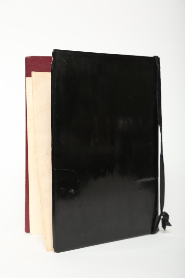 Black Lacquer Antique Folio/Blotter in a Chinoiserie Style In Good Condition For Sale In West Palm Beach, FL