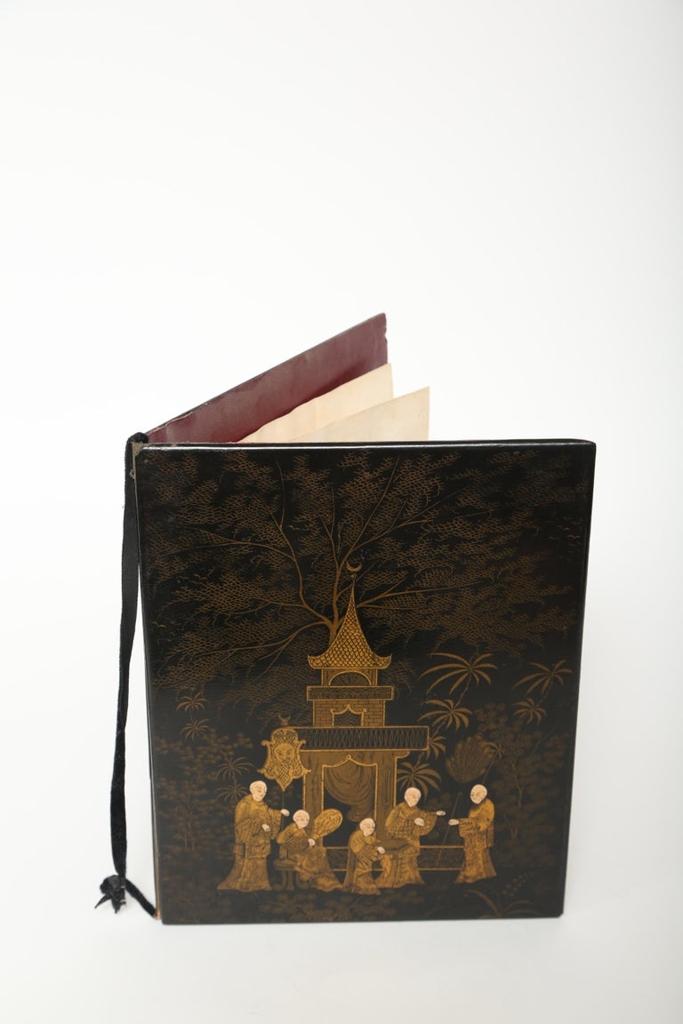 19th Century  Black Lacquer Antique Folio/Blotter in a Chinoiserie Style For Sale