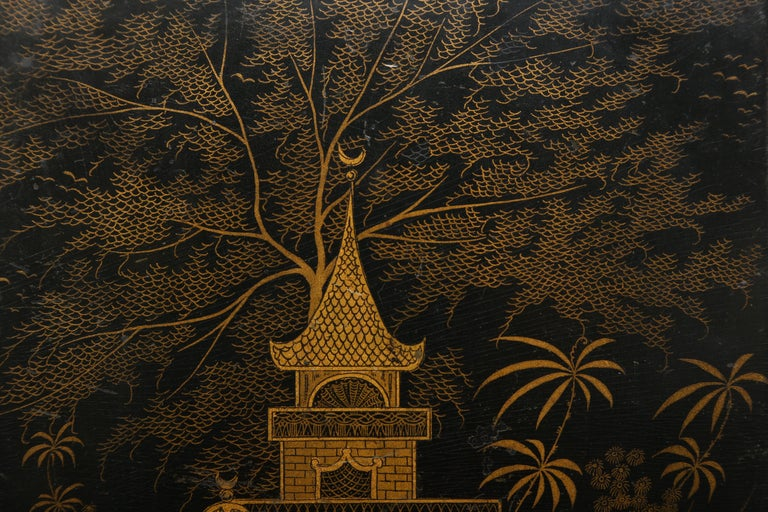 Black Lacquer Antique Folio/Blotter in a Chinoiserie Style For Sale 1