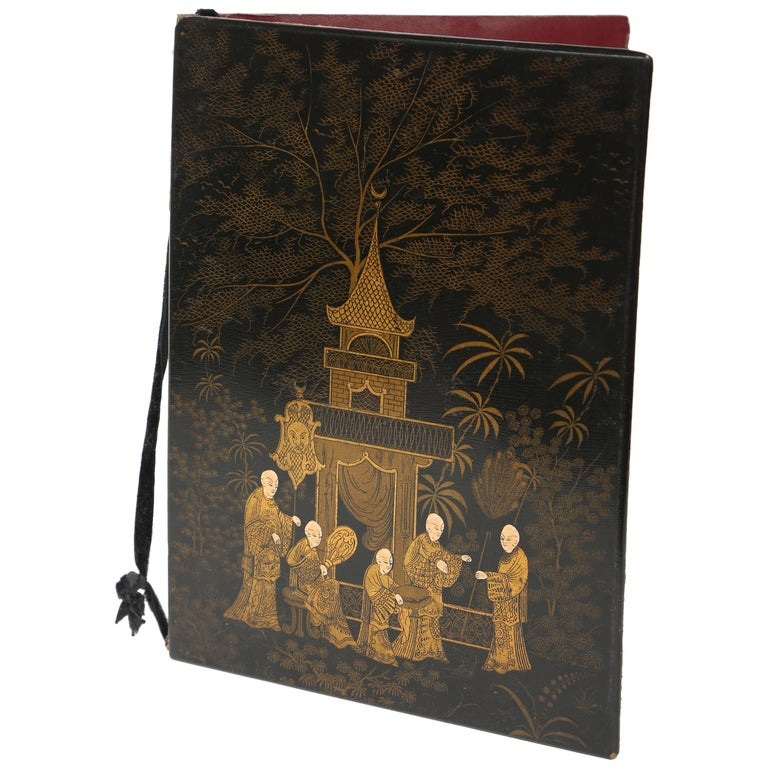 Black Lacquer Antique Folio/Blotter in a Chinoiserie Style For Sale
