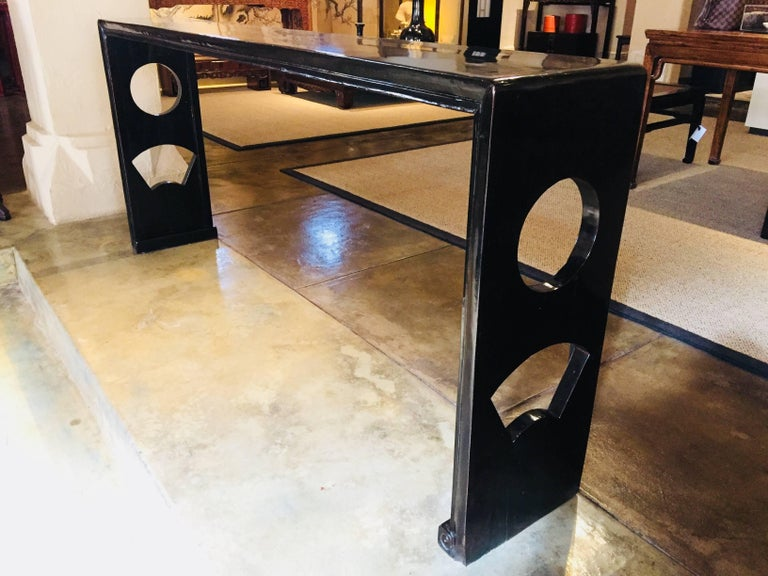Chinese Black Lacquer Console Table, China, 19th Century For Sale