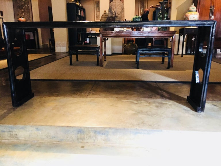 Black Lacquer Console Table, China, 19th Century In Excellent Condition For Sale In Carmel Valley, CA