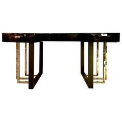 Black Lacquer Contemporary Desk Metal Base