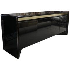 Black Lacquer Credenza by Rougier