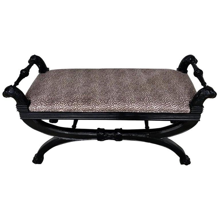 Fine Black Lacquer Curule Bench In The Style Of Maison Jansen Creativecarmelina Interior Chair Design Creativecarmelinacom