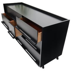 Black Lacquer Gallery Top Pieced Sculptural Wood Pulls Handles Dresser Credenza
