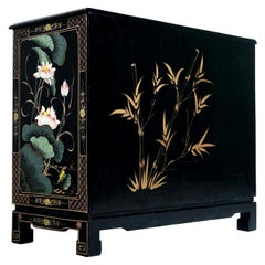 Black Lacquer Hand Painted Chinoiserie Dresser with Mother of Pearl Figures