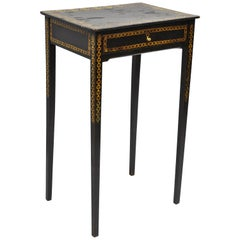 Black Lacquer Hand Painted English Victorian Side End Table Nightstand