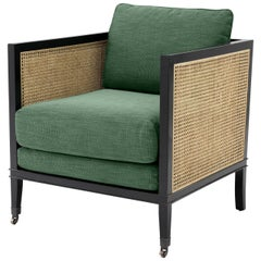 Black Lacquer Mahogany Wooden and Woven Cane Lounge Armchair