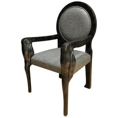 Black Lacquer Medallion Back Carved Armchair