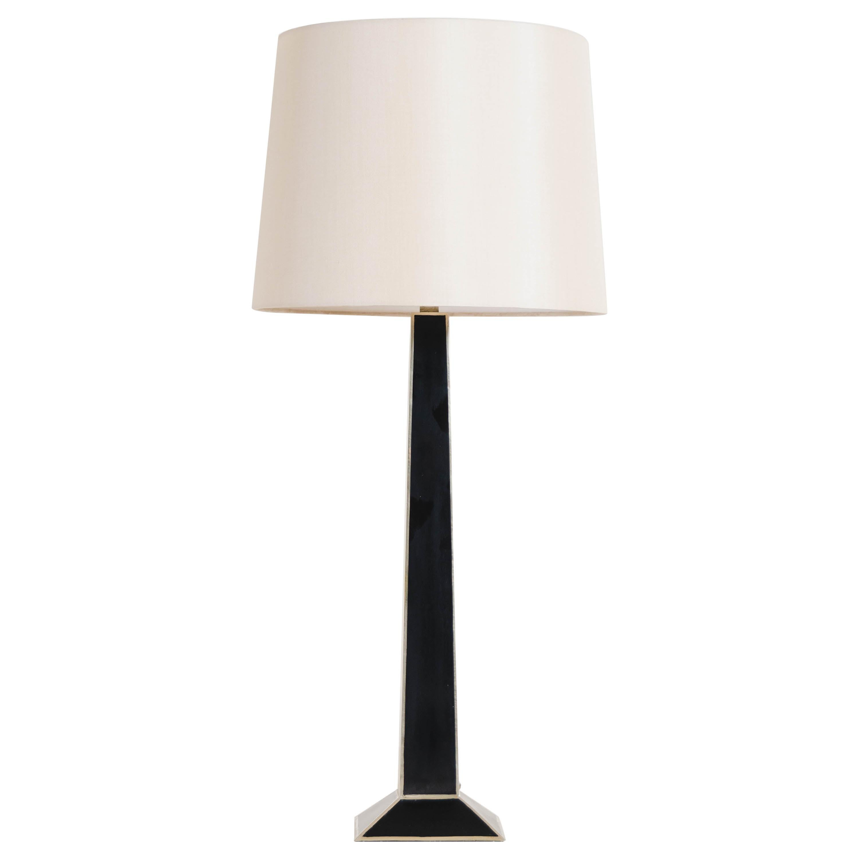 Black Lacquer Obelisk Table Lamp w/ White Bronze by Robert Kuo, Limited Edition