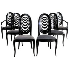 Black Lacquer Oval Drape Back Dining Chairs, Pietro Costantini for Ello Set of 6