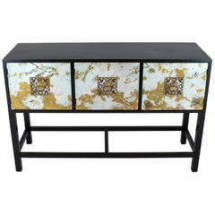 Black Lacquer Painted Decorated Three Doors Small Credenza Brass Pulls
