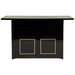 Black Lacquer Post-Modern 2 Drawer w. Cabinet Console / Bar / or Buffet