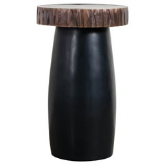 Black Lacquer Side Table with Kuai Trim by Robert Kuo, Hand Repousse, Limited