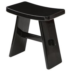 Black Lacquer Stool, in the Style of Maison Jansen, France, 1970s