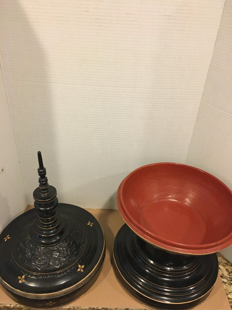 20th Century Black Lacquer Temple Offering Bowl For Sale