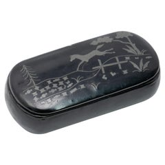 Black Lacquer with Horse Jumping Scene in Enamel