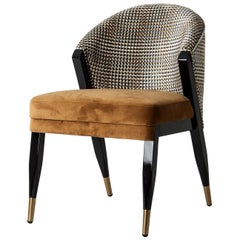 Black Lacquer Wooden and Velvet Chair