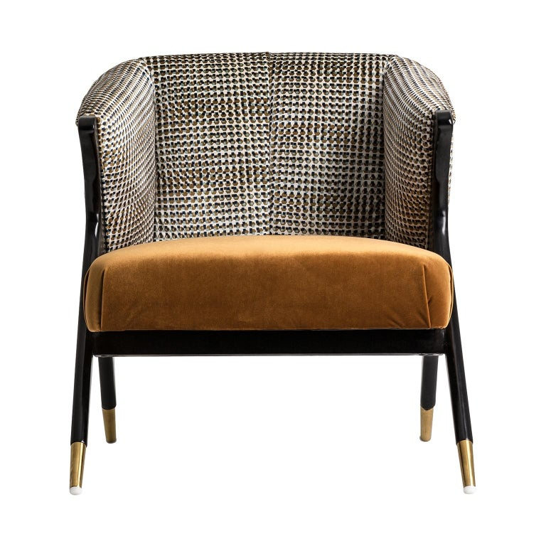 European Black Lacquer Wooden and Velvet Lounge Armchair For Sale