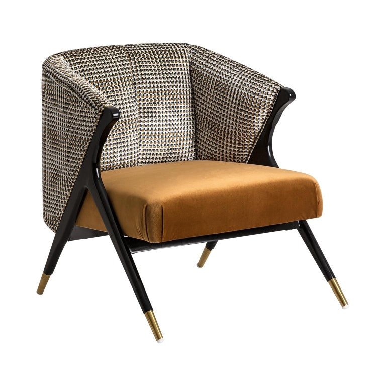 Black Lacquer Wooden and Velvet Lounge Armchair For Sale