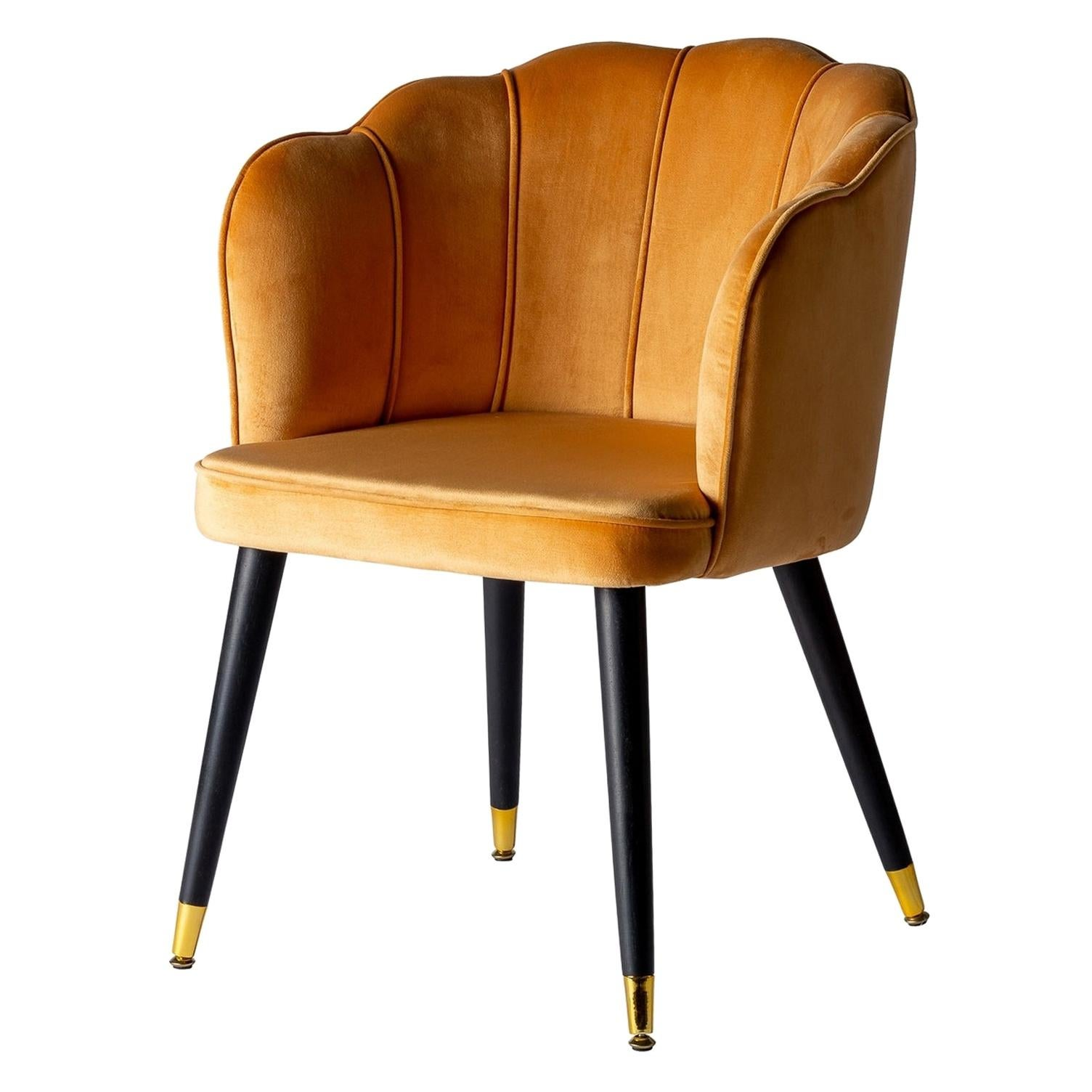 Black Lacquer Wooden and Velvet Shell Chair