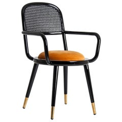 Black Lacquer Wooden and Woven Cane Chair