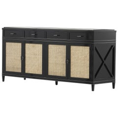 Black Lacquer Wooden and Woven Cane Sideboard