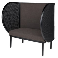 Black Lacquer Woven Cane and Wooden Hideout 2-Seat Armchair