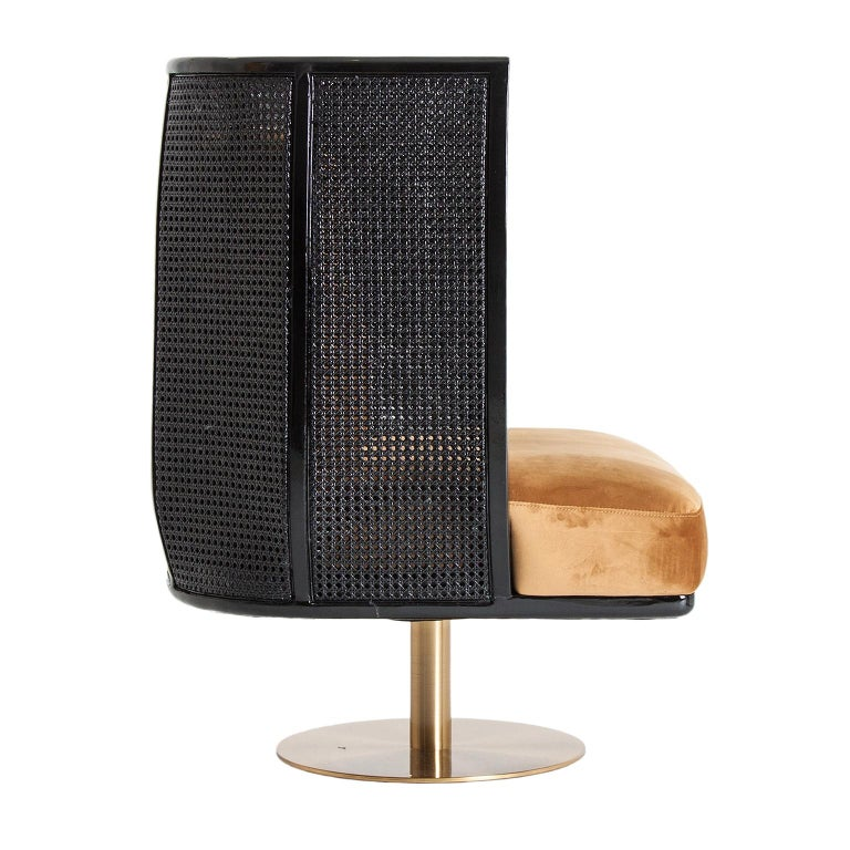 European Black Lacquer Woven Cane Wooden and Velvet Armchair For Sale