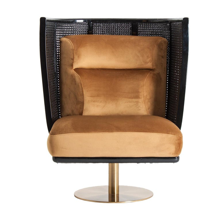 Black Lacquer Woven Cane Wooden and Velvet Armchair In New Condition For Sale In Halluin, FR