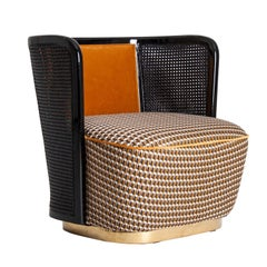 Black Lacquer Woven Cane Wooden and Velvet Armchair