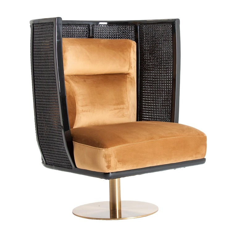 Black Lacquer Woven Cane Wooden and Velvet Armchair For Sale