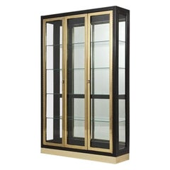 Black Lacquered and Brass Display Cabinets by Henredon