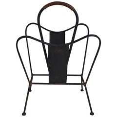 Black Lacquered and Brown Leather Magazine Rack French, circa 1940